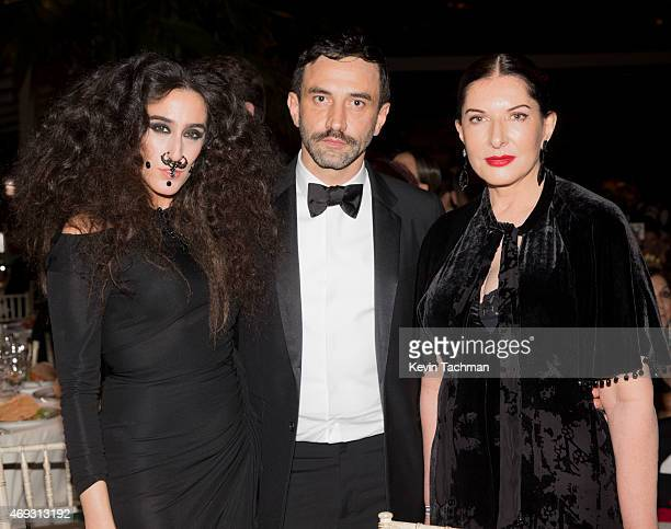 Ladyfag Ricardo Tisci and Marina Abramovic attend the 5th Annual amfAR Inspiration Gala at the home of Dinho Diniz on April 10 2015 in Sao Paulo...