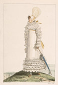 A lady's Empireline summer gown with a gathered bodice and hem