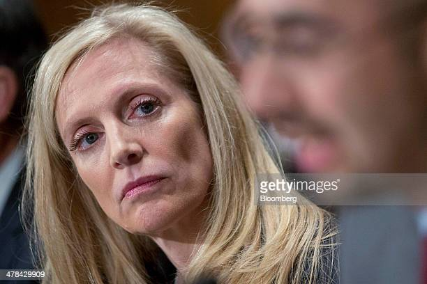 Lael Brainard former under secretary for international affairs at the US Treasury and nominee to be a governor of the US Federal Reserve listens...
