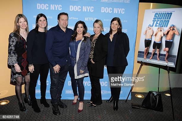 Laela Kilbourn Lara Stolman Chris Laurita Jacqueline Laurita Shanna Belott and Ann Collins attend the New York premiere of 'Swim Team' at DOC NYC on...