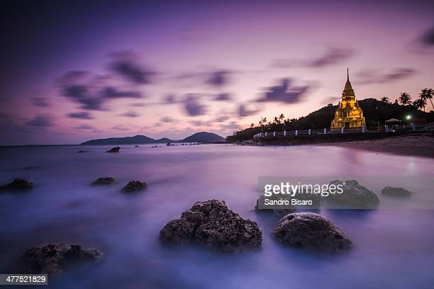 Laem Sor Pagoda at sunset Ko Samui Thailand