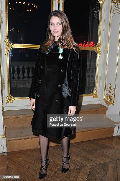 Laeticia Casta poses after being honored by French Culture Minister Frederic Mitterrand at Ministere de la Culture on February 1 2012 in Paris France