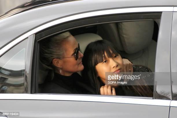 Laeticia Hallyday and her daughter Jade Hallyday seen during Johnny Hallydays funerals at Eglise de la Madeleine