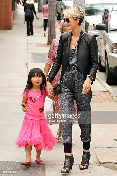 Laeticia Hallyday and Jade are seen in Pacific Palisades on June 30 2010 in Los Angeles California