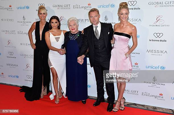 Laeticia Hallyday Eva Longoria Line Renaud Ronan Keating and Storm Keating attend the Global Gift Gala photocall at Four Seasons Hotel George V on...