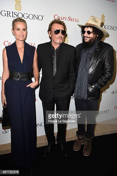 Laeticia Hallyday Johnny Hallyday and Don Was attend the launch of the De Grisogono 'Crazy Skull' watch on October 23 2014 in Paris France