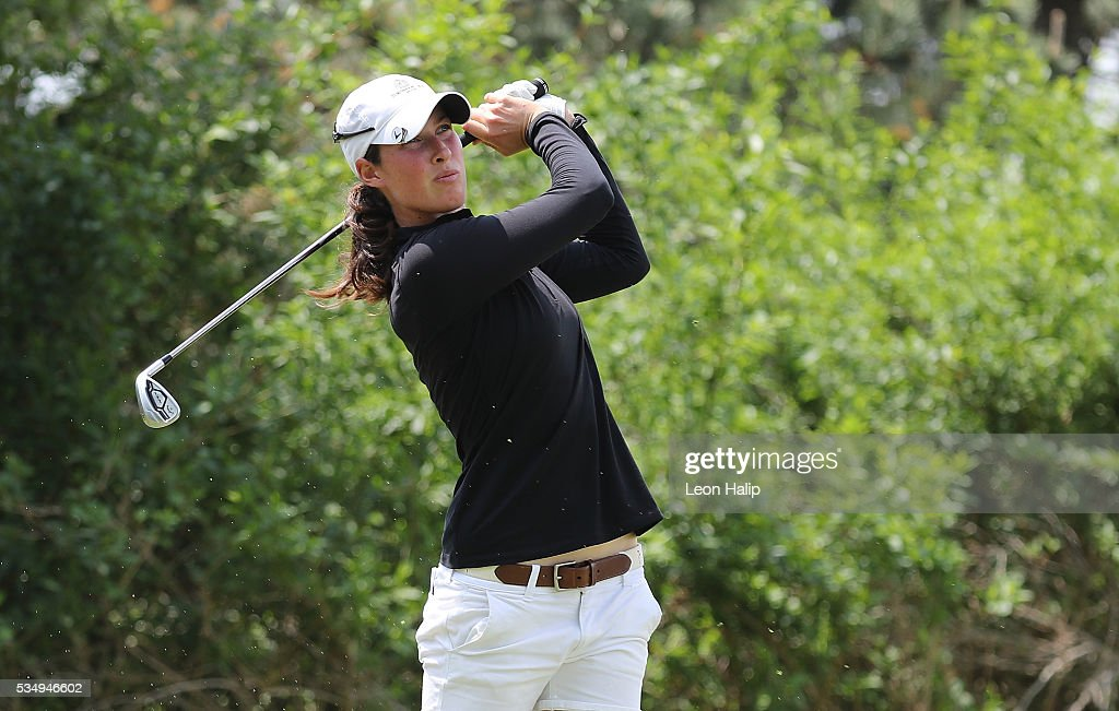 Laetitia Beck from Israel hits her tee shot on the third hole during the third round of the LPGA Volvik Championship on May 28, 2016 at Travis Pointe Country Club in Ann Arbor, Michigan.