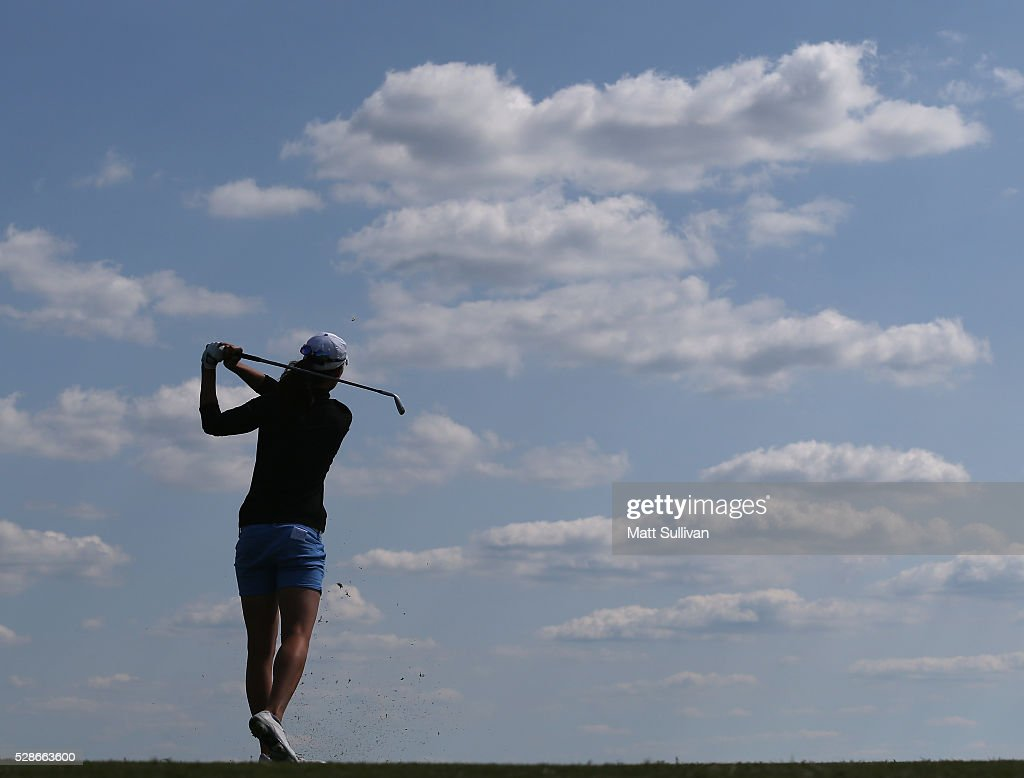 Laetitia Beck of Israel watches her tee shot on the 13th hole during the second round of the Yokohama Tire Classic on May 06, 2016 in Prattville, Alabama.