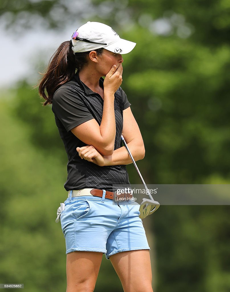 Laetitia Back reacts after making an eagle putt on the sixth hole during the first round of the LPGA Volvik Championship on May 26, 2016 at Travis Pointe Country Club Ann Arbor, Michigan.