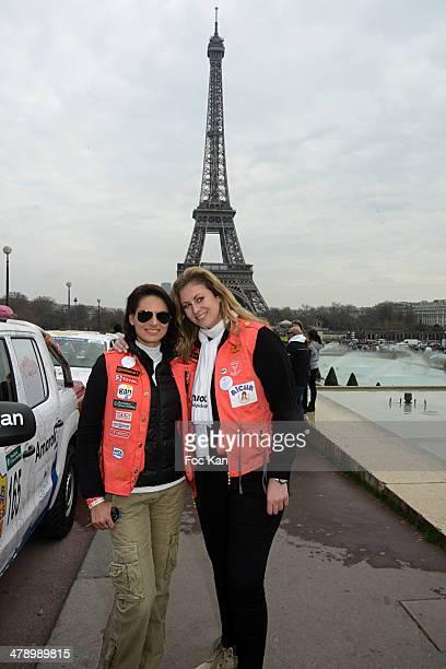 Laetitia Bleger and Maud Garnier attend the 24th Rallye Aicha Des Gazelles 2014' Departure At bassin du Trocadero on March 15 2014 in Paris France