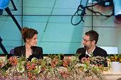 Laetitia Casta and Fabio Fazio attend the 64th San Remo Song Festival 2014 press conference at Teatro Ariston on February 18 2014 in Sanremo Italy