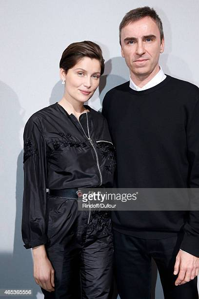 Laetitia Casta and Fashion Designer Raf Simons pose backstage after the Christian Dior show as part of the Paris Fashion Week Womenswear Fall/Winter...