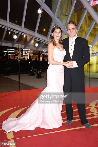 Laetitia Casta and Jeremy Irons attend the Evening Tribute To Jeremy Irons as part of the 14th Marrakech International Film Festival on December 6...