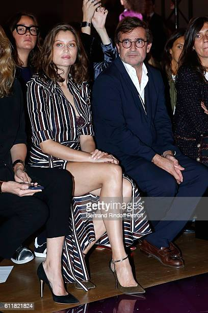 Laetitia Casta and Manuel Puig attend the Nina Ricci show as part of the Paris Fashion Week Womenswear Spring/Summer 2017 on October 1 2016 in Paris...