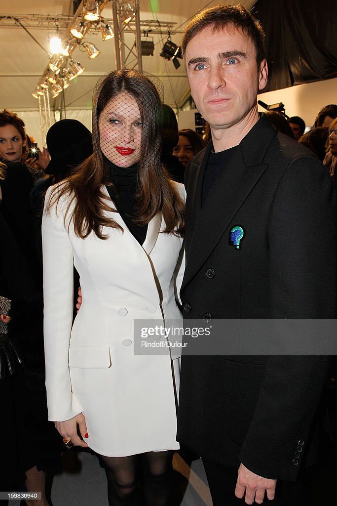 Laetitia Casta and Raf Simons attend the Christian Dior Spring/Summer 2013 Haute-Couture show as part of Paris Fashion Week on January 21, 2013 in Paris, France.