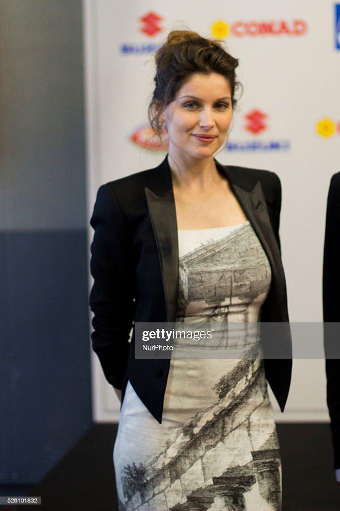 Laetitia Casta attend the 64th San Remo Song Festival 2014 press conference at Teatro Ariston on February 18 2014 in Sanremo Italy