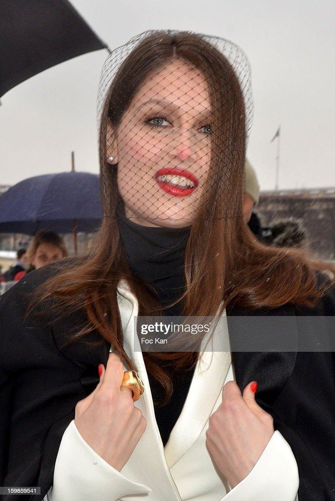 Laetitia Casta attends The Christian Dior: Outside Arrivals- Paris Fashion Week Haute-Couture Spring/Summer 2013 at Espace Ephemere des Tuileries on January 21, 2013 in Paris, France.