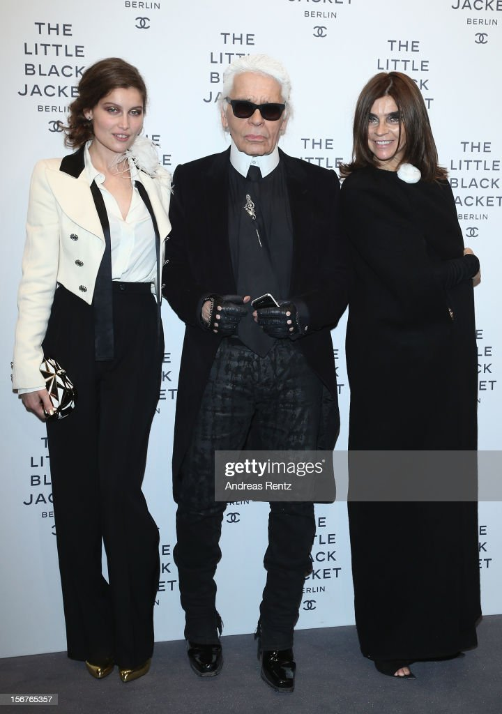 Laetitia Casta, Karl Lagerfeld and Carine Roitfeld attend the CHANEL 'The Little Black Jacket' - Exhibition Opening by Karl Lagerfeld and Carine Roitfeld on November 20, 2012 in Berlin, Germany.