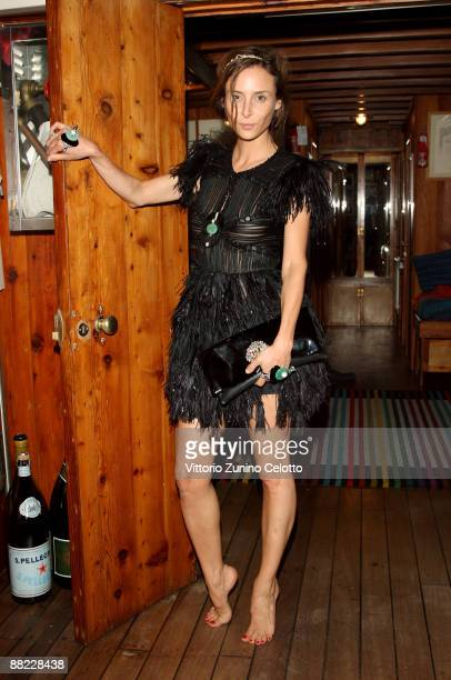Laetitia Crahay attend the Bruce Nauman dinner party hosted by Missoni on the boat 'Timoteo' during the 2009 Venice Biennale on June 4 2009 in Venice...