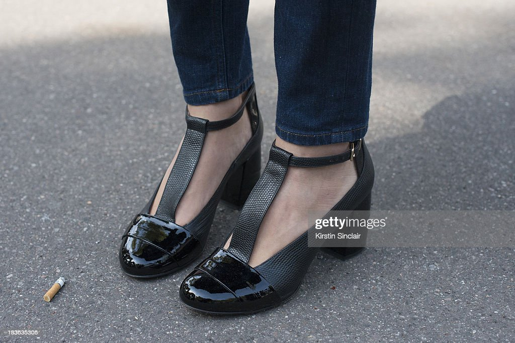 Laetitia Roukbi wearing Cos jeans, and Robert Clergerie shoes on day 9 of Paris Fashion Week Spring/Summer 2014, Paris October 02, 2013 in Paris, France.