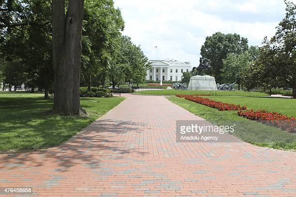 Lafayette Park in front of the White House is empty after the White House press briefing was interrupted Tuesday by the Secret Service and the room...