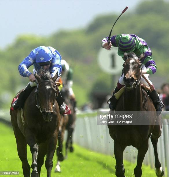 Lafite ridden by jockey Richard Hills pips Ray Cochrane riding Fantazia to the finishing post to win the Middleton Stakes at York Races