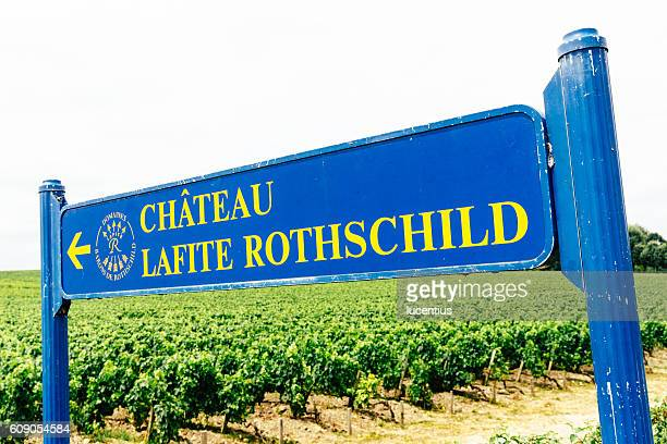 Lafite Rothschild road sign, Bordeaux, France