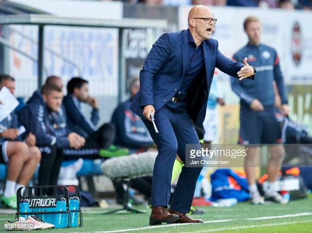 Ólafur Kristjánsson head coach of Randers FC in action during the Danish Alka Superliga match between SonderjyskE and Randers FC at Sydbank Park on...