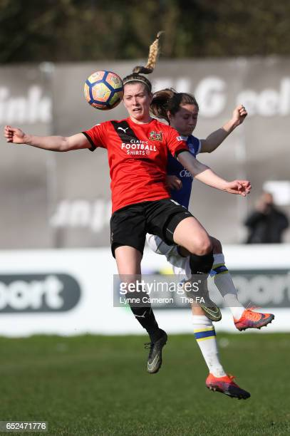 Lagan Makin of Sheffield FC Ladies and Gabby George of Everton Ladies during the match between Sheffield FC Ladies and Everton Ladies on March 12...