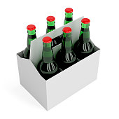 Six pack of lager beer bottles on white background