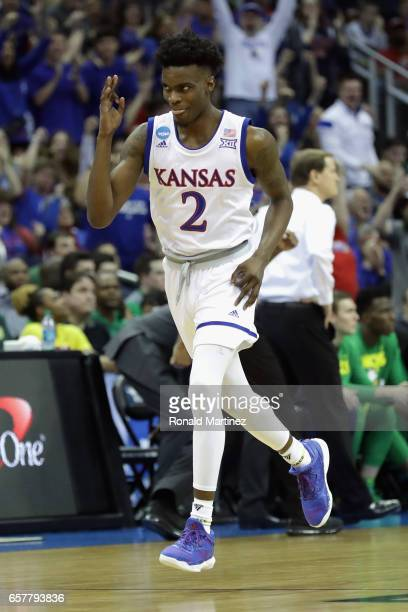 Lagerald Vick of the Kansas Jayhawks reacts in the first half against the Oregon Ducks during the 2017 NCAA Men's Basketball Tournament Midwest...