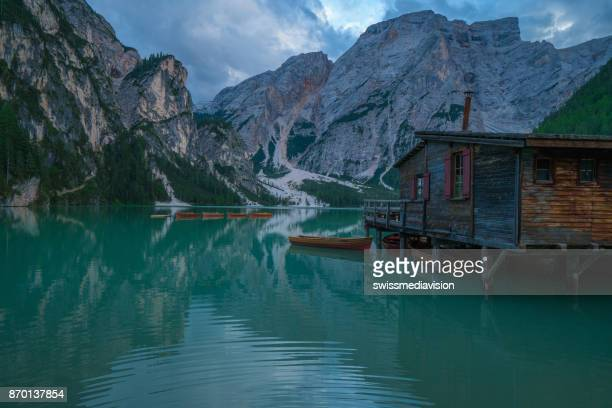 Lago di Braies in South Tyrol, Italy- Shot at dusk, beautiful light and reflection on water surface