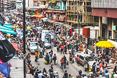 Busy market streets at Lagos Island's commercial district.