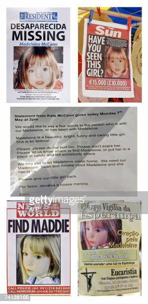 This picture combo created 13 May 2007 shows posters concerning missing fouryearold British girl Madeleine McCann as well as a statement issued by...