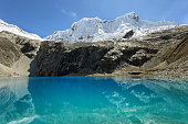 Laguna 69, with the great Nevado Chacraraju mountain in the background. Huascaran National Park - Huaraz - Peru