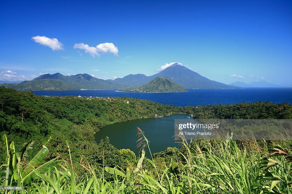 Laguna lake, Maitara and Tidore island Indonesia : Stock Photo