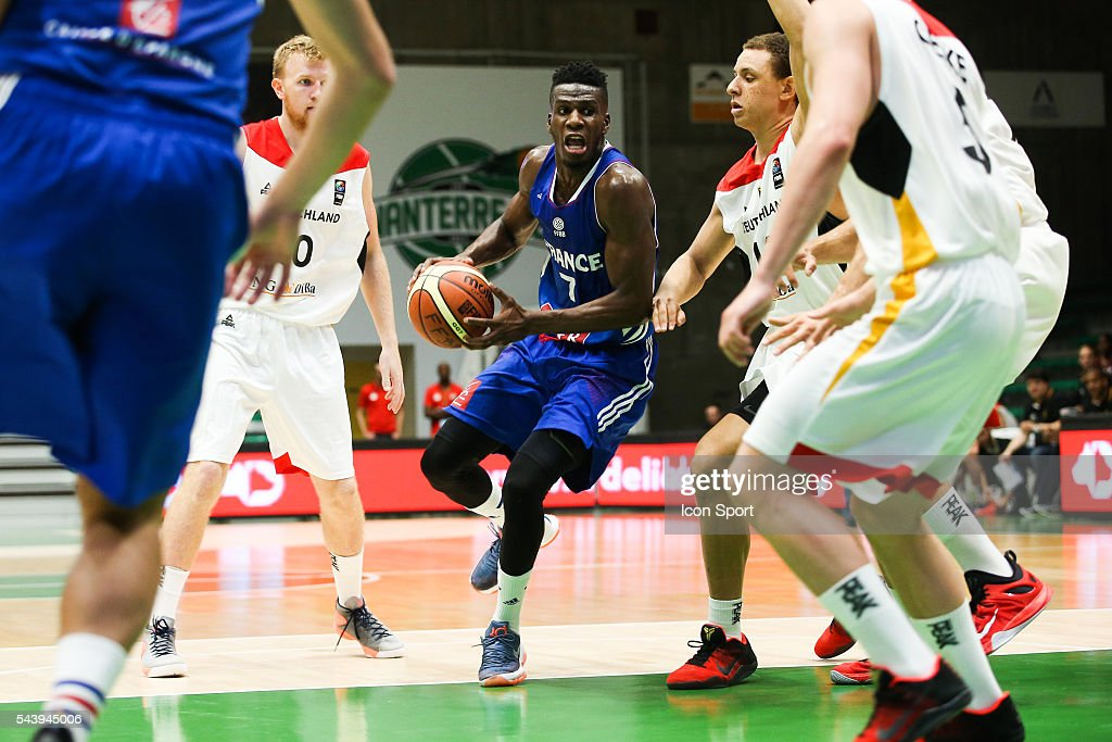 Lahaou Konate of France during the friendly basketball match between France A' and Germany A' at Palais des Sports Maurice Thorez on June 30, 2016 in Nanterre, France.
