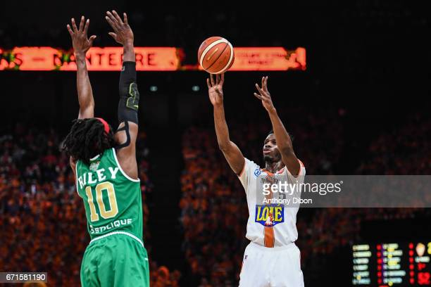 Lahaou Konate of Le Mans during the Final of the French Cup between Le Mans and JSF Nanterre at AccorHotels Arena on April 22 2017 in Paris France
