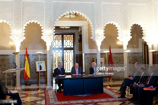 Lahcen Daoudi King Juan Carlos of Spain and Spanish Minister of Foreign Affairs Jose Manuel Garcia Margallo attend a meeting of heads of universities...