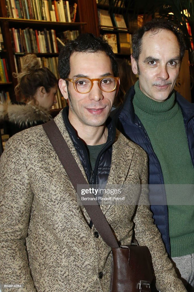 Lahcen Redhim and Leo Guillaume attend Bertrand Matteoli Signing Book 'Bien Dans Sa Peau' at Librairie Galignali on March 18, 2017 in Paris, France.
