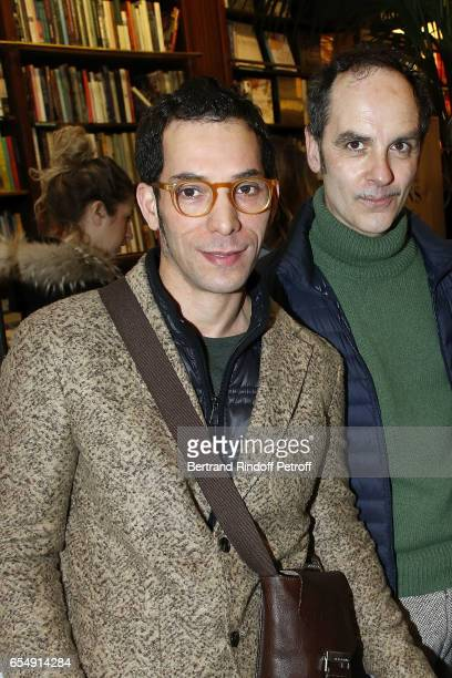 Lahcen Redhim and Leo Guillaume attend Bertrand Matteoli Signing Book 'Bien Dans Sa Peau' at Librairie Galignali on March 18 2017 in Paris France
