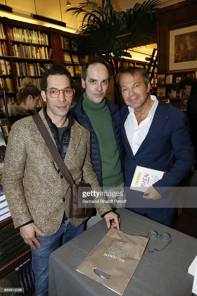 Lahcen Redhim, Leo Guillaume and Bertrand Matteoli attend Bertrand Matteoli Signing Book 'Bien Dans Sa Peau' at Librairie Galignali on March 18, 2017 in Paris, France.