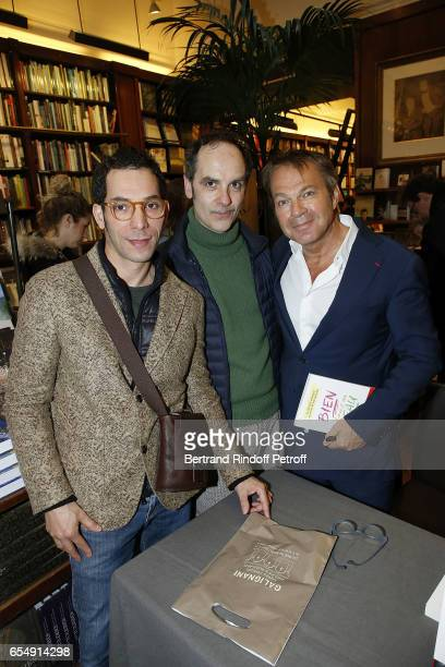 Lahcen Redhim Leo Guillaume and Bertrand Matteoli attend Bertrand Matteoli Signing Book 'Bien Dans Sa Peau' at Librairie Galignali on March 18 2017...