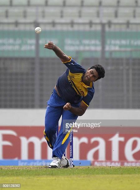 Lahiru Kumara of Sri Lanka bowls during the ICC U19 World Cup SemiFinal match between India and Sri Lanka on February 9 2016 in Dhaka Bangladesh