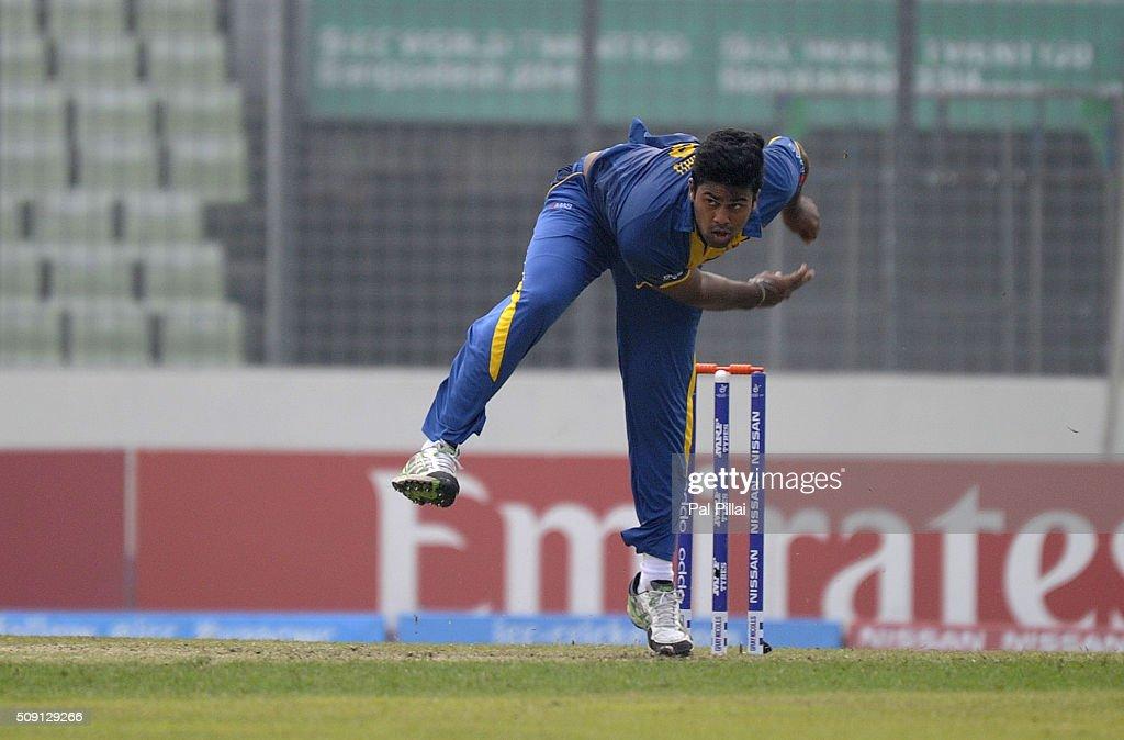 Lahiru Kumara of Sri Lanka bowls during the ICC U19 World Cup Semi-Final match between India and Sri Lanka on February 9, 2016 in Dhaka, Bangladesh.