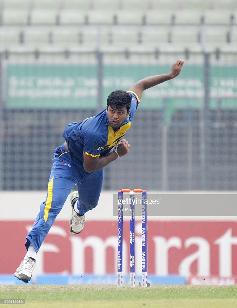 Lahiru Kumara of Sri Lanka bowls during the ICC U19 World Cup Semi-Final match between India and Sri Lanka on February 9, 2016 in Dhaka, Bangladesh.
