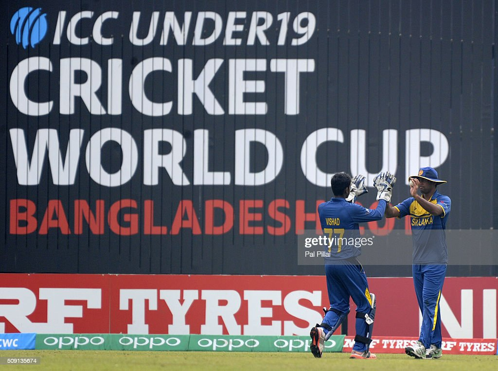 Lahiru Kumara of Sri Lanka celebrates after taking a catch to get the wicket of Mahipal Lomror of India during the ICC U19 World Cup Semi-Final match between India and Sri Lanka on February 9, 2016 in Dhaka, Bangladesh.