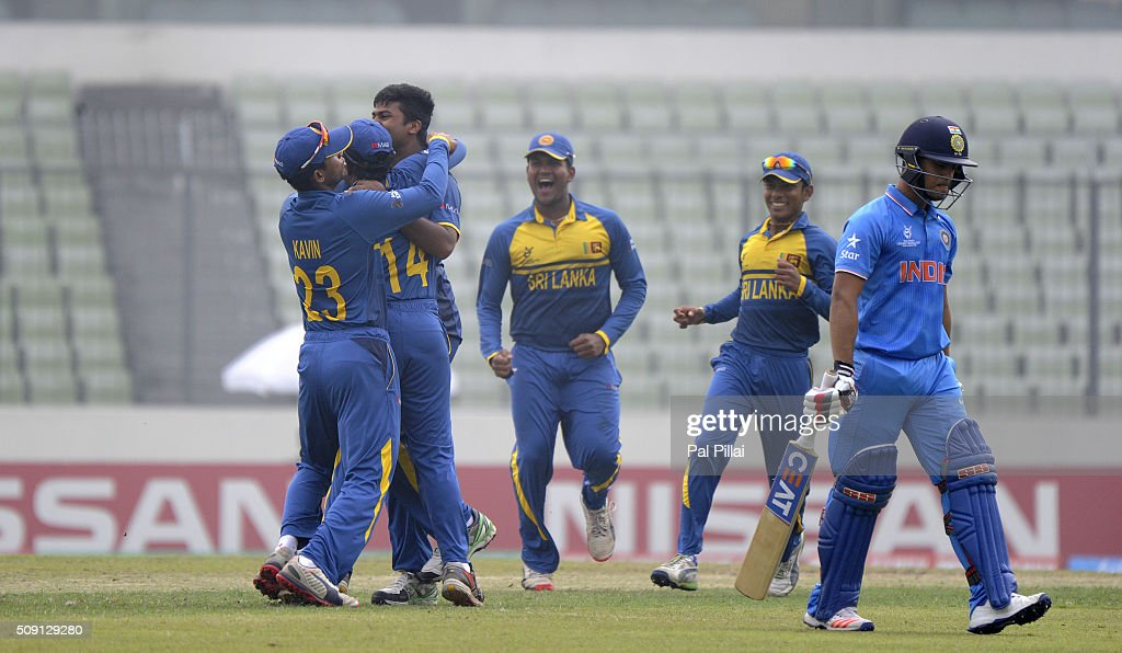 Lahiru Kumara of Sri Lanka celebrates the wicket of Ishan Kishan of India during the ICC U19 World Cup Semi-Final match between India and Sri Lanka on February 9, 2016 in Dhaka, Bangladesh.