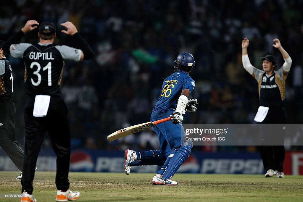Lahiru Thirimanna of Sri Lanka after being run out off the final ball during the C1 versus D2 Super Eight match between Sri Lanka and New Zealand at Pallekele Cricket Stadium on September 27, 2012 in Kandy, Sri Lanka.