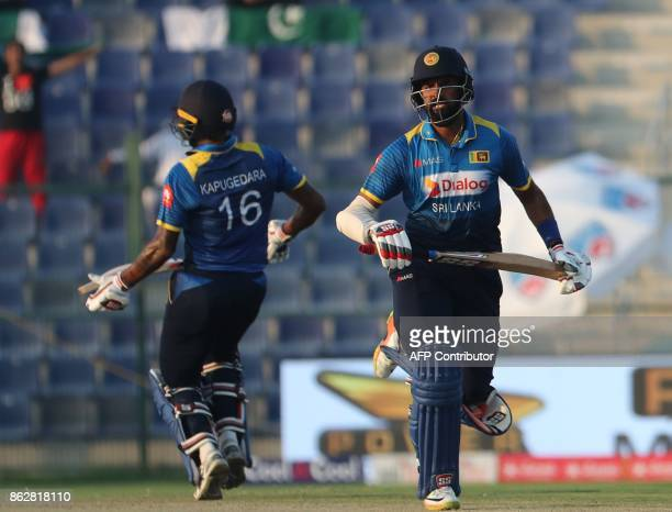 Lahiru Thirimanne and Chamara Kapugedara of Sri Lanka bats during the third one day international match between Pakistan and Sri Lanka in Abu Dhabi...